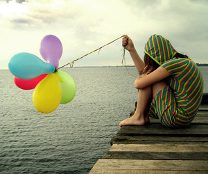 balloons, girl, and sad image