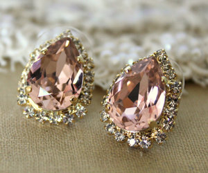 earrings, diamond, and pink image