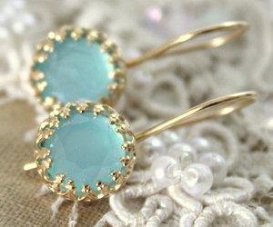 aqua, gold earrings, and bling bling image