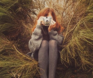 girl, camera, and forest image