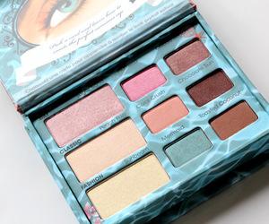 beige, blue, and makeup image