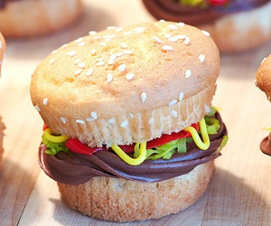 cupcake, burger, and food image