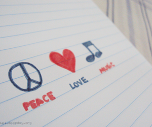 peace, music, and love image
