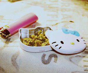 hello kitty, weed, and pink image