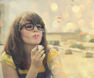 bubbles, girl, and glasses image