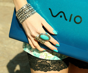 vaio, blue, and nails image