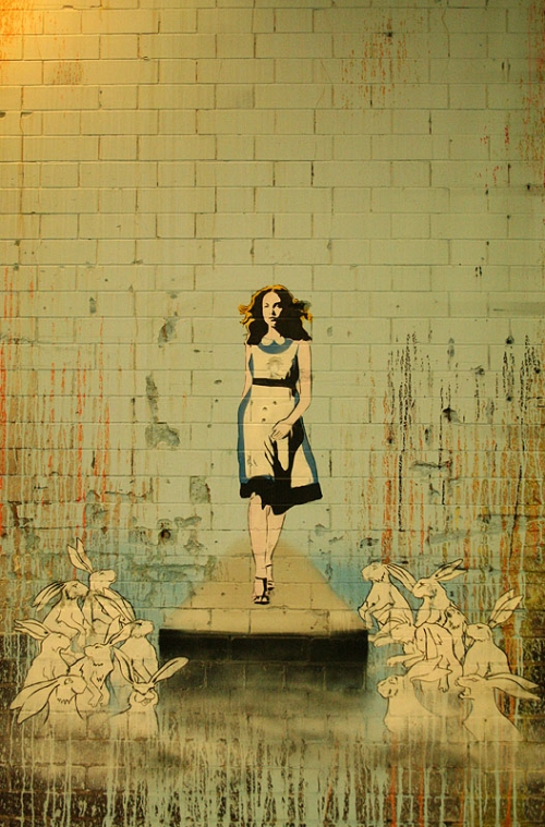 street art, graffiti, and alice in wonderland image