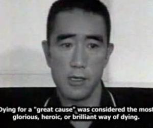 black and white, subtitles, and Yukio Mishima image