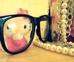 hello kitty, nerd, and necklace image