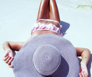 beach, hat, and bikini image