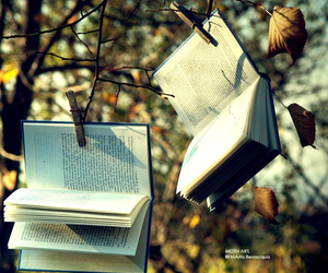 book, autumn, and tree image
