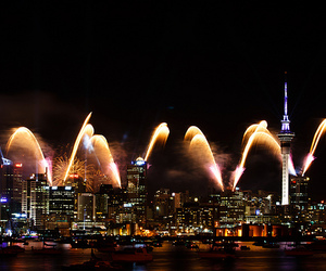 city, fireworks, and lights image