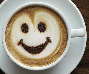smile and coffe image