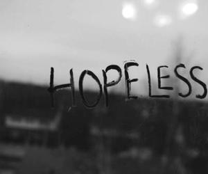 hopeless, black and white, and text image