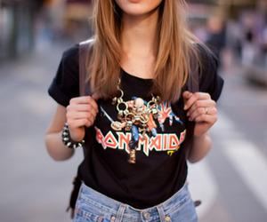 girl, iron maiden, and sunglasses image