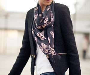 fashion, skull, and scarf image