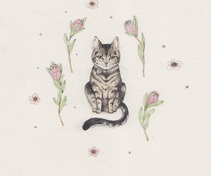 cat, flowers, and drawing image