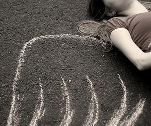 angel, girl, and floor image