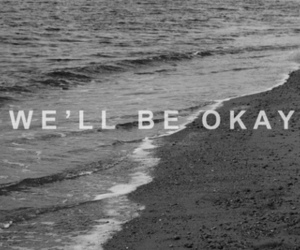 beach, typography, and black and white image