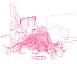 girl, pink, and leitura image