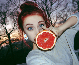 girl, red hair, and orange image