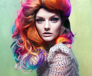 hair, rainbow, and model image
