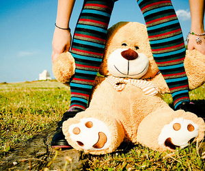 girl, nature, and teddy bear image
