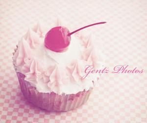 cherry, cupcake, and pink cupcake image