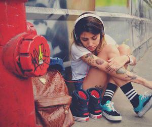 girl, shoes, and shorts image