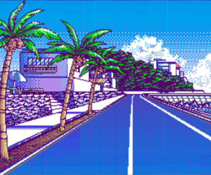 pixel, road, and tree image