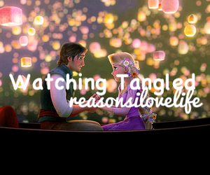 reasons i love life, watching tangled, and tangaled image