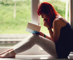girl, book, and red hair image