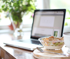 food, laptop, and breakfast image