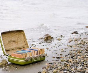 book, beach, and suitcase image