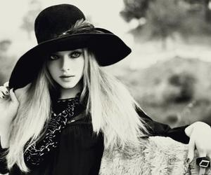 amanda seyfried, black and white, and hat image