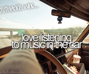 music, car, and text image