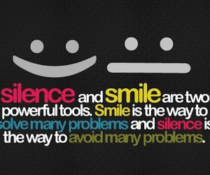 smile, silence, and quote image