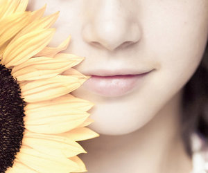 girl, sunflower, and smile image