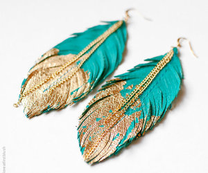 earrings, gold, and feather image