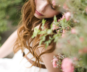 girl, flowers, and red hair image