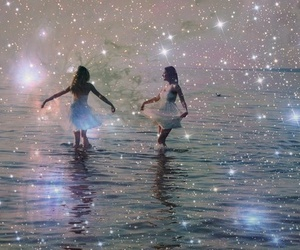 girl, stars, and water image