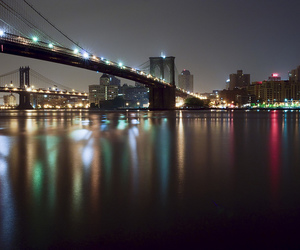 Brooklyn, Manhattan Bridge, and night lights image