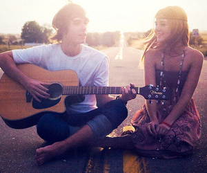 love, guitar, and boy image