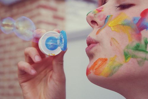 bubbles, girl, and colors image