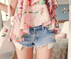 blusa, short, and moda image