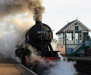 departure, railway station, and steam engine image