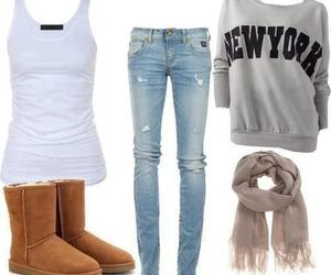 outfit, new york, and jeans image