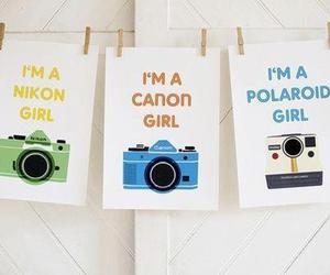 camera, canon, and polaroid image