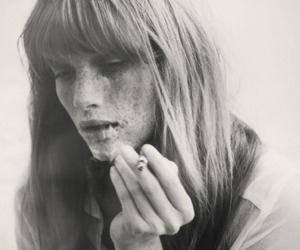 black and white, cigarette, and freckles image