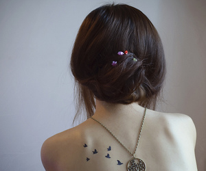 tattoo, bird, and necklace image